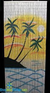 Painted Bamboo Curtains Sunset Palm Painted Bamboo Curtain Bamboo Curtains