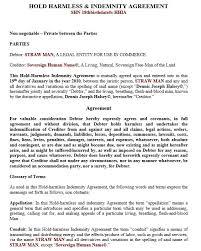 10 free sample indemnity agreement templates u2013 printable samples