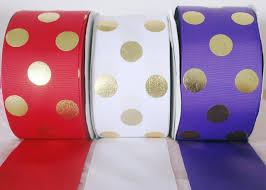 ribbon fabric new 3 75mm wide foil gold dots custom printed polyester