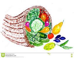thanksgiving cornucopia clipart full cornucopia watercolor stock illustration image 77202228