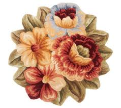 Round Wool Rugs Royal Palace Floral Bouquet 33
