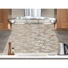 shop smart tiles 6 pack beige glossy composite vinyl mosaic linear
