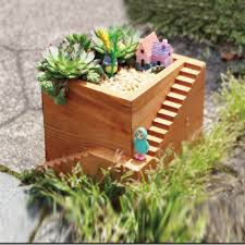 small flower pot creative with stairs retro wooden small succulent plants flower
