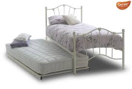 cream metal bed frame sareer sophia bed with trundle cream