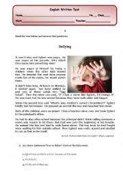 english worksheet bullying reading comprehension written test