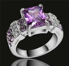 cz engagement ring purple amethyst cz engagement ring 18k white gold filled wedding