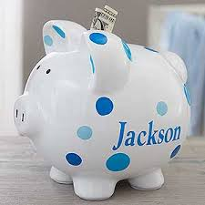personalized silver piggy bank personalized piggy bank for boy blue polka dot
