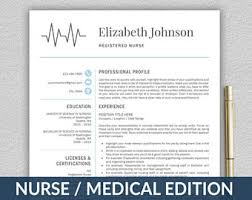 Nurses Resume Templates Nurse Resume Etsy