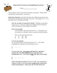 comparing fractions and equivalence lesson math worksheets