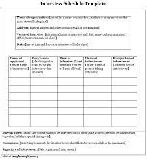 interview schedule templates