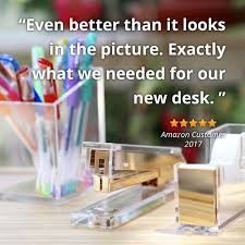 Desk Accessories For Children by Amazon Com Acrylic U0026 Gold Stapler By Officegoods A Classic