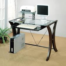 roll out computer desk minimalist glass top computer desk with equipment rack feat floor