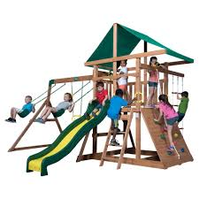 backyard discovery slide backyard discovery mount mckinley cedar swing set 1705012com the
