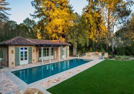 mediterranean pool house john malick associates the spa and raised fire pit encourage gracious outdoor living