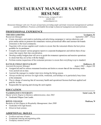 Sample Resume For Assistant Manager by Beautiful Inspiration Restaurant Manager Resume Sample 4