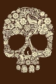 brown flower skull sketch best ideas gallery