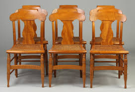 set of 6 tiger maple chairs w cane seats cottone auctions