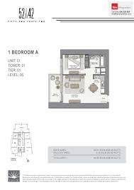 floor plans 52 42 fifty two forty two tower dubai marina by emaar 1 bed tower 1 52 1 bed floor plan type 1 bedroom a