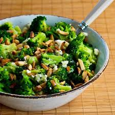 barely blanched broccoli salad with feta and fried almonds