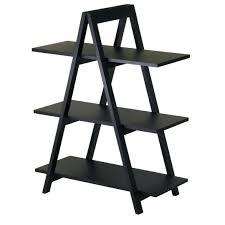 5 Tier Ladder Shelf Black Amazon Com Winsome Wood 3 Tier A Frame Shelf Black Kitchen U0026 Dining
