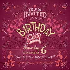My Birthday Invitation Card Vintage Birthday Party Invitation Card Design Typography And