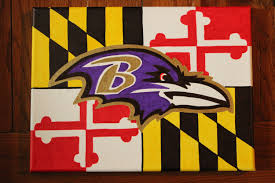 Football Flag Printing Batimore Ravens Football Logo On Maryland Flag Hand Painted