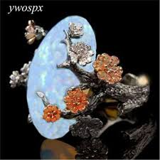 white fire rings images Ywospx vintage black gold color ring white fire opal flower rings jpg