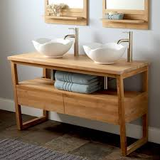 bathroom elegant bamboo double vessel sink bathroom vanity
