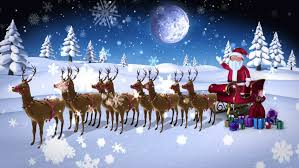 santa sleigh and reindeer digital animation of santa waving at with sled and