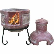 Chiminea Outdoor Fireplace Clay - clay chiminea grapes decoration grill lid and stand small patio
