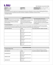 sample job performance evaluation forms 10 free documents in