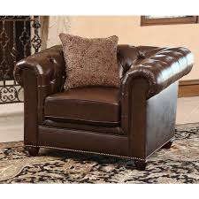Leather Sofa And Armchair Abbyson Carmela Dark Brown Top Grain Leather Chesterfield 2 Piece