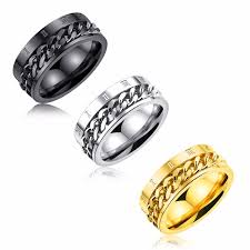 custom ring engraving 8mm stainless steel chain inlay rings band with