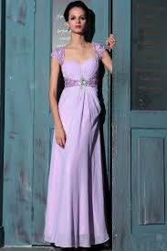 elegant lilac cap sleeves prom gown evening dresses