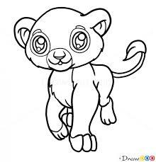draw baby lion cute anime animals