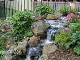 outdoor water features with lights water fall feature landscape designs