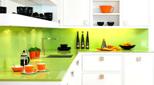 luxury l shaped kitchen cabinet in white come with green lime at