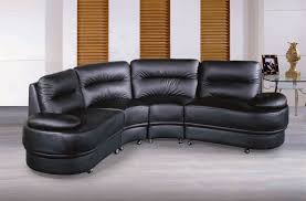 Sofa Round Half Round Shape Black Leather Sofa And Glass Tabled Beside For