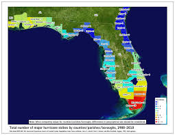 Map East Coast Florida by Tropical Cyclone Climatology