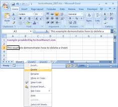 ms excel 2007 delete a sheet