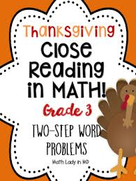 3rd grade thanksgiving math two step word problems reading