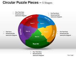 circular puzzle pieces 5 stages powerpoint templates