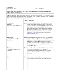 Countable And Uncountable Nouns Teaching Lesson Plan 2 1ero Medio June 8th 2012