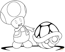 green coloring page toad with green shell coloring page free printable coloring pages