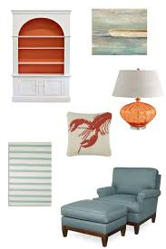 aqua and orange beach house cottage home
