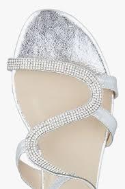 diamante studded flat sandals in silver romanoriginals co uk