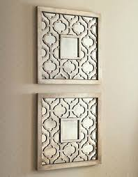 wall designs mirror wall silver square fretwork wood
