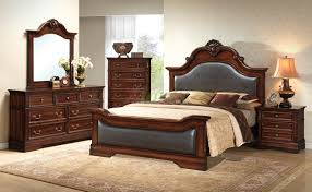 Cherry Wood Sleigh Bedroom Set Bedroom Furniture Set With Leather Headboard And Footboard 134