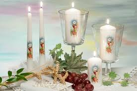 communion decoration holy communion confirmation pillar candle 60x130mm white