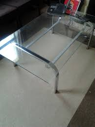 stylish 70s 80s retro glass and chrome large coffee table